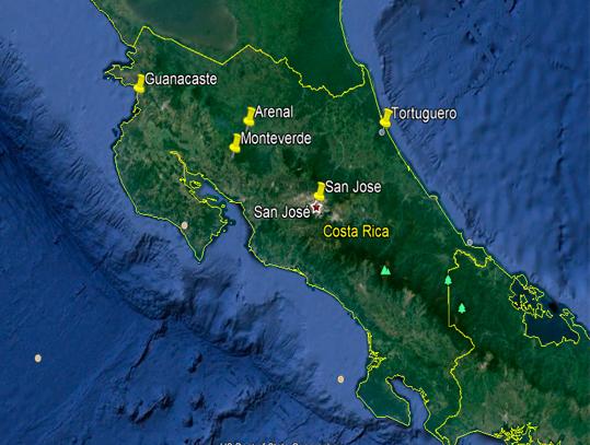 Mapa Viaje Costa Rica
