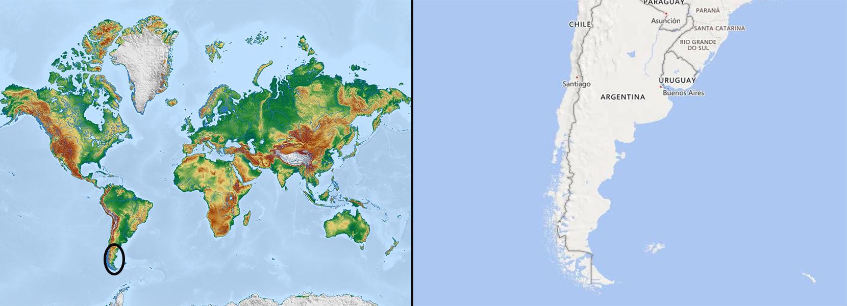 Mapa mundi+Patagonia