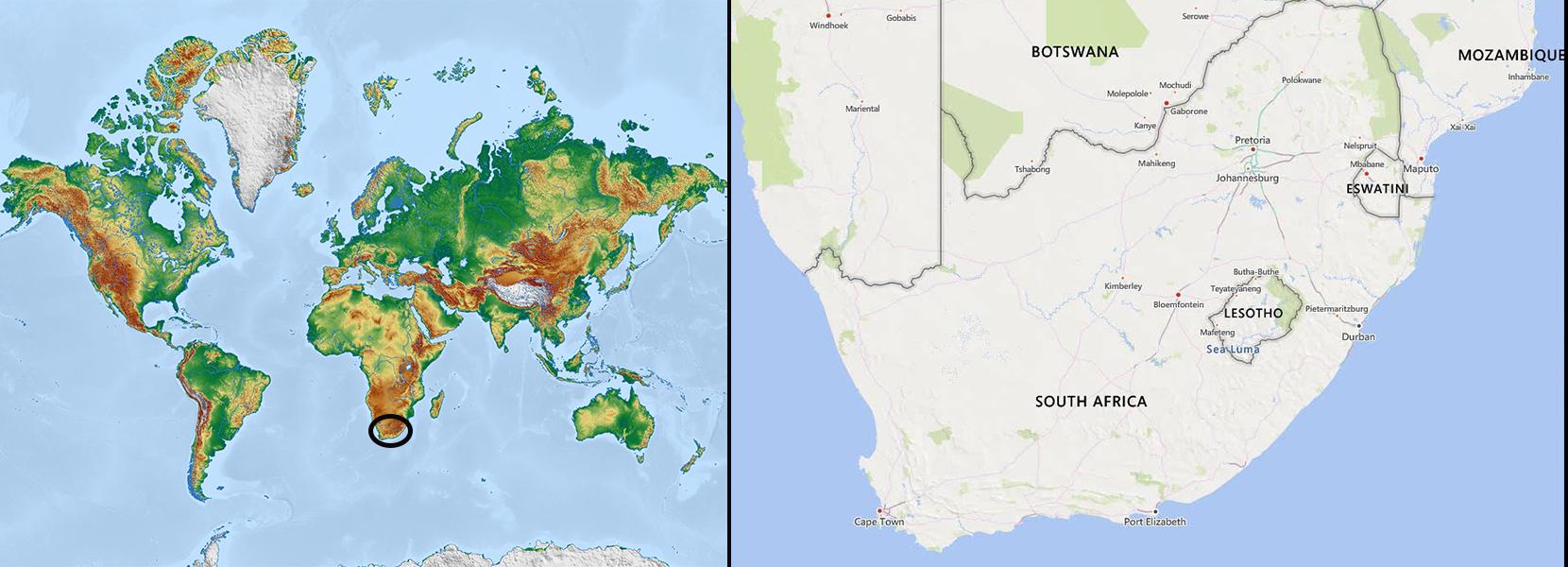 Mapa mundi+sudafrica