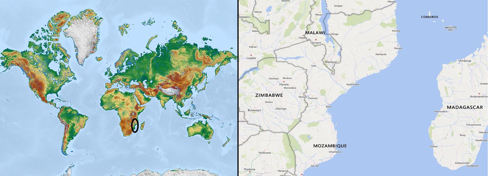 Mapa mundi+mozambique